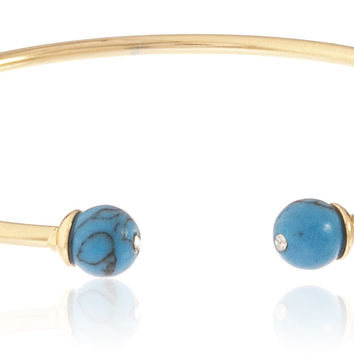 Goldtone Semi-Precious Ball Ended Arm Cuff (Turquoise)