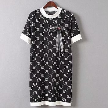 """Gucci"" Trending Women Stylish Double G Letter Bowknot Short Sleeve Knit Mini Dress Black I13694-1"