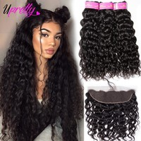 Upretty Brazilian Hair Weave Bundles With Closure Wet And Wavy Human Hair Bundles With Closure Water Wave 3 Bundles With Frontal