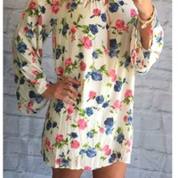 Brighter than the Sun Floral Cold Shoulder Dress