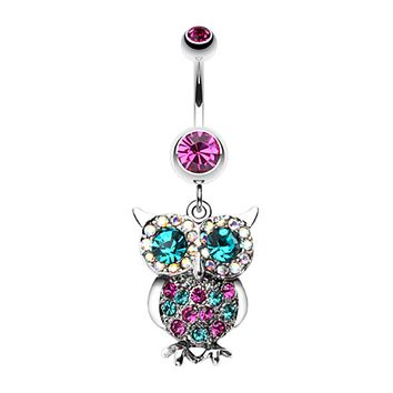 Jeweled Sparkling Owl Dangle Belly Button Ring