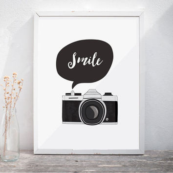 Smile Camera Print Wall Art Black and White Print Printable Quote Typography Motivational Print Inspiration Print Smile Retro Style Vintage