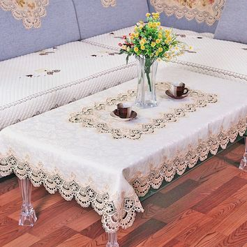 Lace Tablecloths Coffee Table Decoration Living Room Restaurant European Pastoral Table Runners Tableware Placemats TV Refrigera