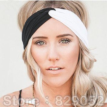 Patchwork Turban Headbands for Women Twist Stretch Hairbands Sport Headband Yoga Headwrap Head Band Bandana Girls Hair Accessory