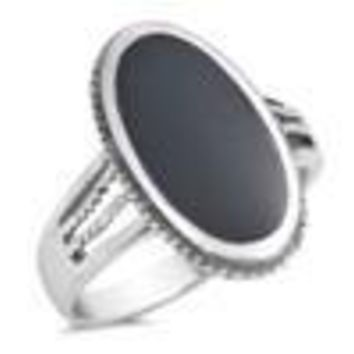 Sterling Silver 925 PRETTY OVAL DESIGN WITH BLACK ONYX STONE RING SIZES 5-12