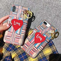 DIOR Fashion New Colorful Stripe Embroidery Love Heart Letter Protective Cover Phone Case