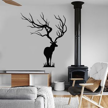 Vinyl Wall Decal Forest Deer Tribal Animal Horns Nature Stickers (2753ig)