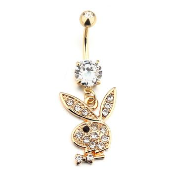 Bunny Gold Dangle Belly Button Navel Rings Body Piercing Jewelry Gem ( Color: Black )