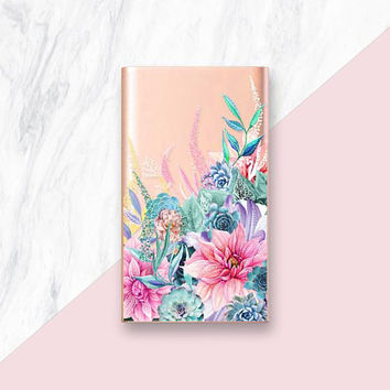 Floral Power Bank, Phone Charger Portable Charger Gold Power Bank Silver Power Bank Silver Phone Charger, Rose Gold Phone Charger