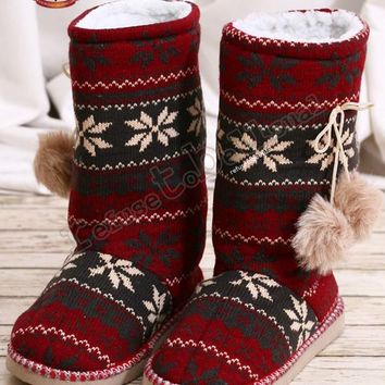 Nordic Snowflake Knit Sherpa Wool Fleece Boot Slipper