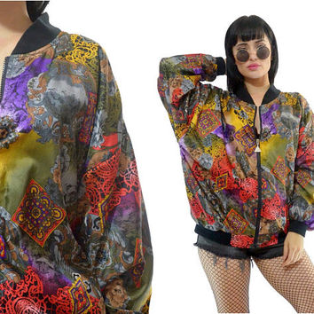 vintage 90s vivid satin bomber jacket colorful new wave geometric floral print slouchy windbreaker jacket pastel grunge kawaii medium