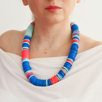 African clothing/neon necklace/electric blue necklace/African necklace/trendy necklace/tribal necklace/ethnic jewelry/funky necklace/blue