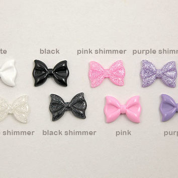 28mm Mixed Girly Colors Ribbon Resin Cabochons - Pink, Black, White and Purple - 6 pc set