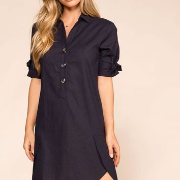 Speak Up Navy Shirt Dress