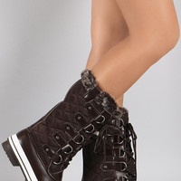 Quilted Faux Fur Cuff Lace Up Mid Calf Snow Boots