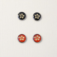 Black/red stud earrings, plum blossoms, floral, round studs, Japanese washi Chiyogami jewelry, hypoallergenic surgical steel, made to order
