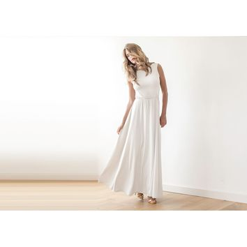 Ivory Backless wedding maxi dress 1062