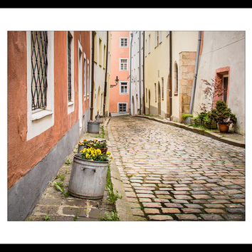 Old World Charm, Cobblestone Street, City Photography, Europe Photography, Living Room Print, Dining Room Print, Rust Tones, Pansies