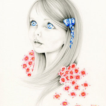 Custom Portrait Whimsical Fantasy Portrait an Original Pencil Drawing & Illustration Fine Art