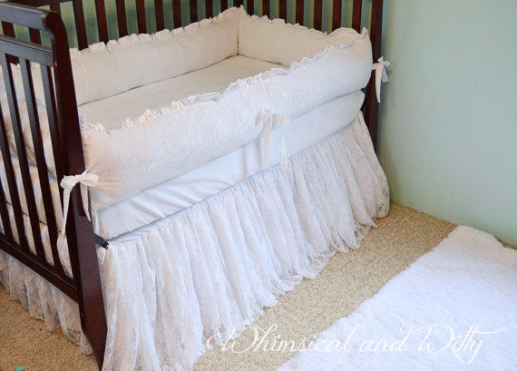 White Lace Baby Crib Bedding White From Whimsicalandwitty On