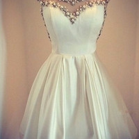 White Vintage Homecoming Dresses,Satin Formal Homecoming Dresses With Beadings