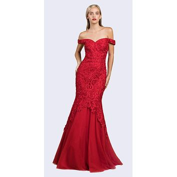 Off-Shoulder Mermaid Style Long Prom Dress Red