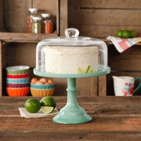 "The Pioneer Woman Jadeite 10"" Cake Stand with Glass Cover - Walmart.com"