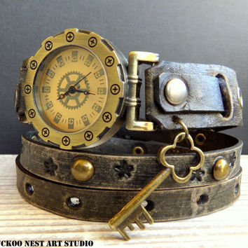 Leather Watch, Women's Watch, Wrap around Watch, Ladies watch, Bracelet Watch, Distressed black watch with key charm