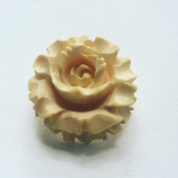 Carved Bone Rose Brooch - flower brooch - 1940's vintage brooch - Hollywood Regency - romantic brooch
