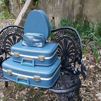 Vintage Blue Stacking Suitcases Four Piece Set