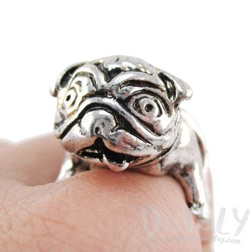 3D Pug Puppy Dog Shaped Adjustable Animal Ring in Silver