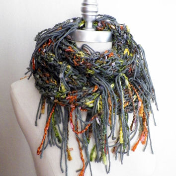 Bohemian Fringe Infinity Scarf, Earthy Fall Colors, Sparkly Knit Scarf, Loop Scarf, Mobius Scarf, Fashion Knitwear, Fall Winter Essentials,