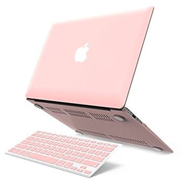 "iBenzer Basic Soft-Touch Series Plastic Hard Case & Keyboard Cover for Apple Macbook Air 11-inch 11"" A1370/1465 (Rose Quartz)"