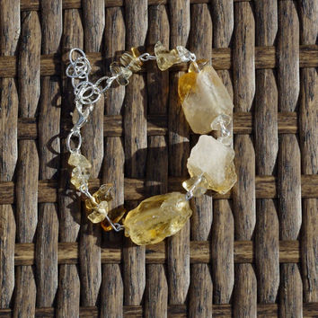 Raw Citrine Stone Bracelet ~ Statement Bracelet ~  Sunshine Yellow Stones  ~ Healing Chakra ~ Boho ~ Unique Gift ~ One of a Kind ~ OOAK