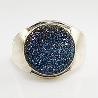 Blue Titanium Drusy Sterling Silver Ring