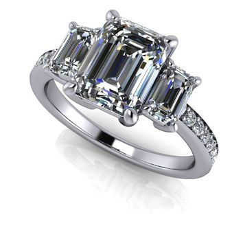 Free Center Stone! Emerald Cut Three Stone Ring - Diamond Three Stone Ring - Emerald Cut Moissanite Ring
