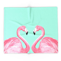 Society6 Pink Flamingo Blanket