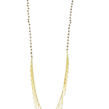Amethyst And Gold Stick Fringe Long Necklace