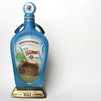 Vintage Collectible 1968 Jim Beam Illinois Sesquicentennial Whisky Decanter