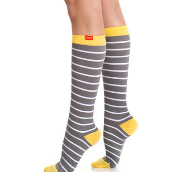 Women's Nautical Stripes: Grey & White + Yellow Heel (Nylon)