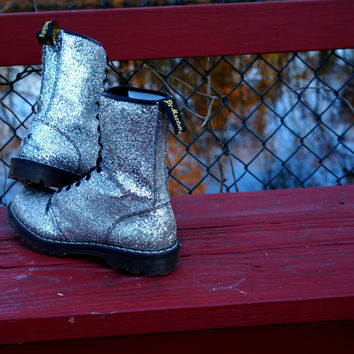 Vintage Silver Sparkle Glitter Dr Martens Boots- Ten(10) Eye Glittering Combat Boots- UK 9- Made in England- Vintage Rare Glittery Cool