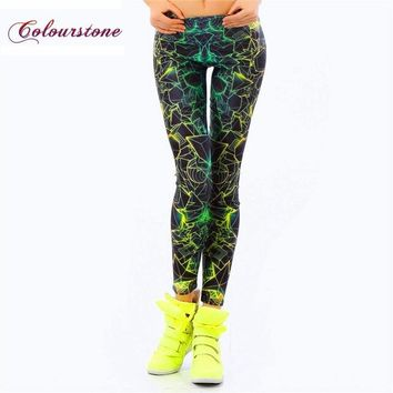 COLOURSTONE 2017 Galaxy Leggings Printed Ray Fluorescence Classic Fabric Pants Spandex Leggins Fitness Trousers For Women Capris