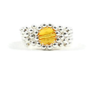 Sunflower Yellow Sterling Silver Ring Beaded Ring Beadwork Jewelry Band Ring