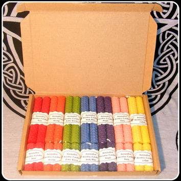 Beeswax Handrolled 4 and 2 inch Chime Candles Set of 28 Coloured Candles for Altar Circle and all Workings Altar Candles Pagan Wicca Witch
