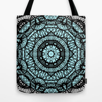Brain Circle with Blue Center Tote Bag by RunnyCustard Illustration