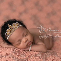 Gold tiara headband and matching bracelet, rhinestone tiara, newborn tiara