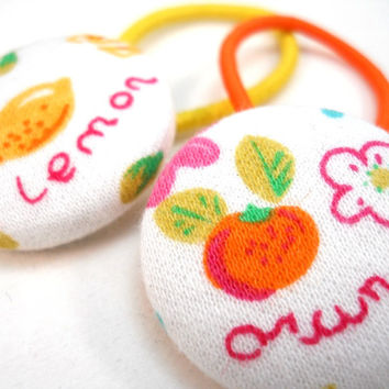 Orange & Lemon PonyTail Holders Set