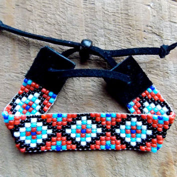 Aztec bead loom native american bracelet - tribal black red blue loom bracelet