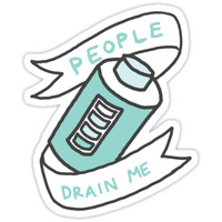 People Drain Me Introvert Awkward 90s Weird kawaii print by Big Kidult