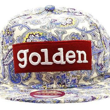 Blue Paisley Golden Hat And Cap